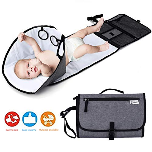 Baby Portable Changing Pad, Diaper Bag,Travel Mat Station,Foldable Waterproof Cushioned Diaper Changing Mat with Built-in Pillow, Grey Compact