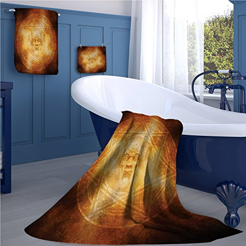 warmfamily Horror House Sports towel set Demon Trap Symbol Logo Ceremony Creepy Scary Ritual Fantasy Paranormal Design handkerchief set Orange by warmfamily