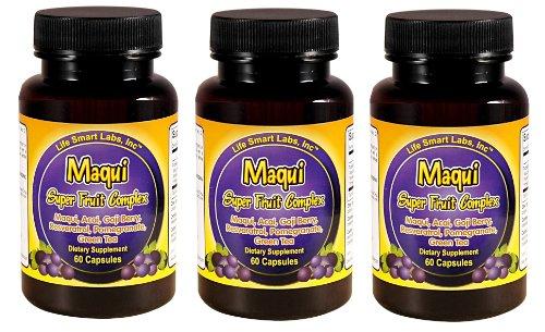 3 Mois complexes Maqui Super Fruit, baies Maqui antioxydants, le resvératrol, baie de Goji, grenade, açaï, le thé vert paquet de 3