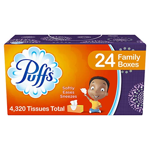 - Puffs, Everyday Non-Lotion Facial Tissues, 24 Family Boxes, 180 Tissues per Box
