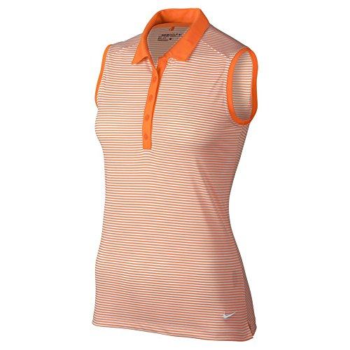 (Nike Womens Victory Sleeveless Golf Polo Bright Orange/White Striped Small)