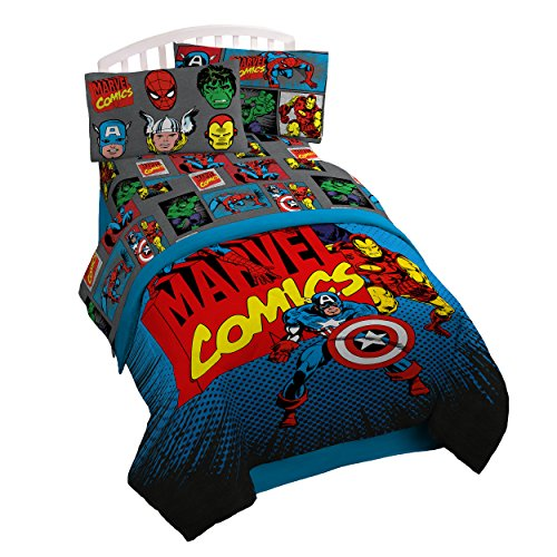 Jay Franco Marvel Superheros Microfiber 3 Piece Twin Sheet Set Gray