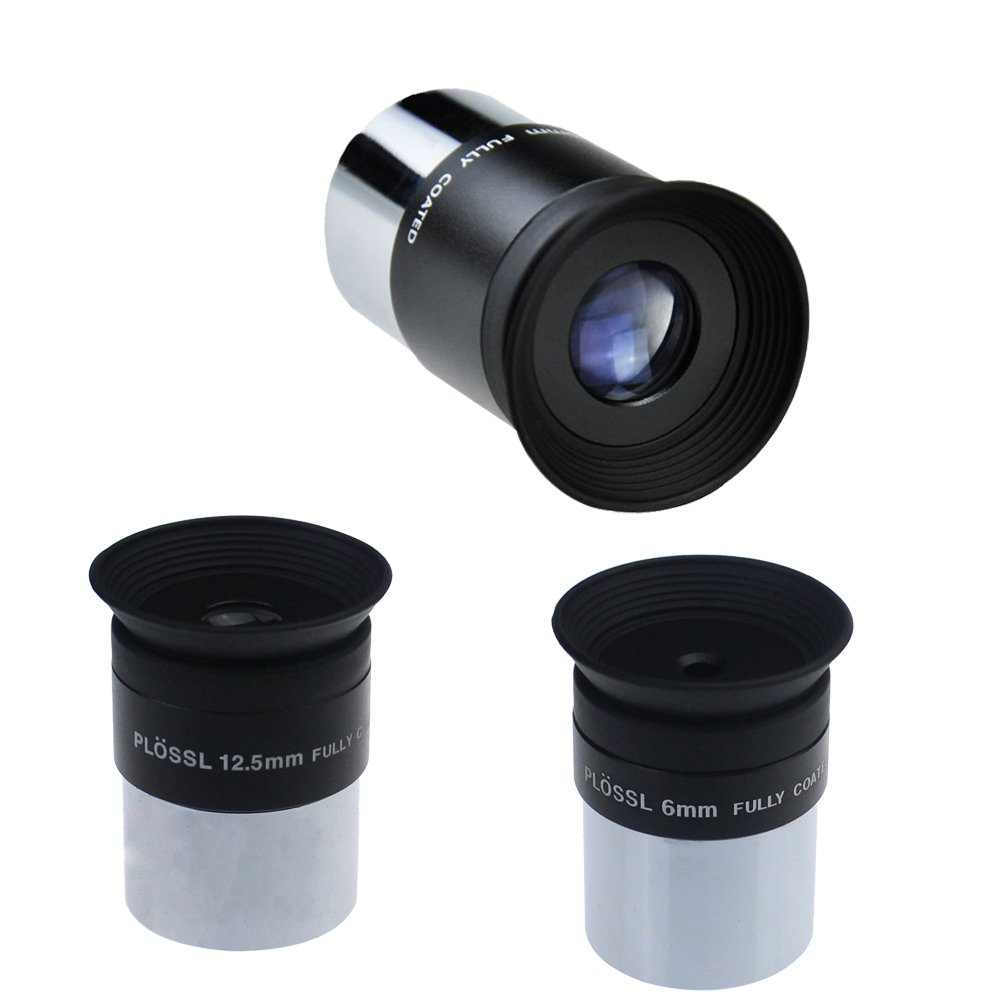 Gosky 6mm 12.5mm 20mm 1.25inch Plossl Telescope Eyepiece Set/Telescope Lens Set - 4-element Plossl Design - Threaded for Standard 1.25inch Astronomy Filters by Gosky