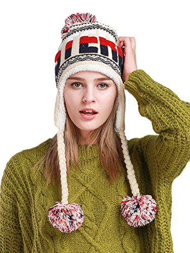 CHARLES RICHARDS CR Women Hat Winter Ski Hats For Women Soft Warm Knitted Earflap Hood Beanie ()