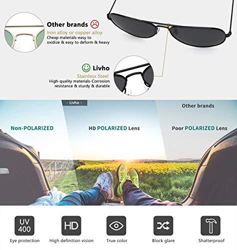 livho Classic Polarized Aviator Sunglasses UV Mirrored Lens Metal Retro Shades 3