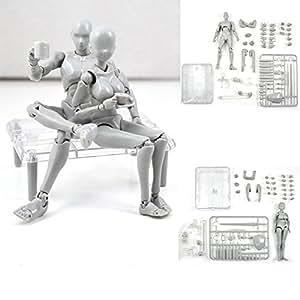 Abbony 2PCS/Set Figma S.H.Figuarts SHF Body CHAN & KUN 2.0 DX SET Gray PVC Action Figure
