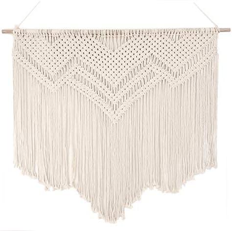 Large 39 Wide Macrame Rope Crochet Boho Wall Hanging on Dowel
