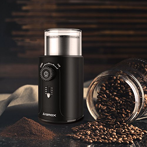 Electric Coffee Bean Grinder with Stainless Steel Blades,Grind Size and Cup Selection, 2.5-Ounce, Black by Aramox (Image #6)