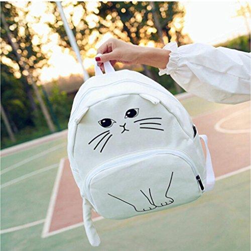 BZLine® Lovely Katze Drucken Frauen Canvas Rucksack Schule Taschen Ladies Casual Rucksack Schultasche Weiß OPJdI4xZHJ