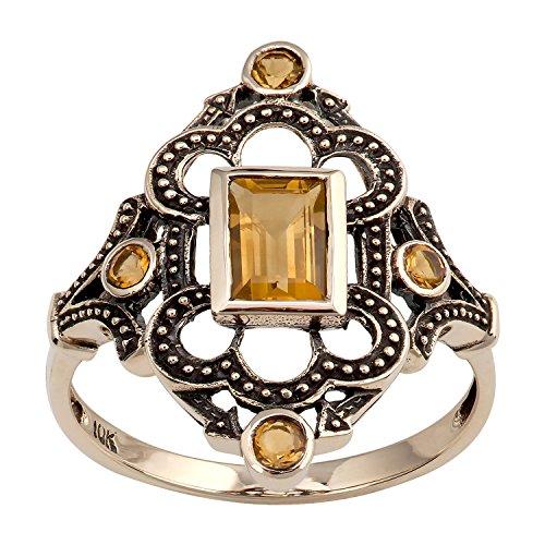 10k Yellow Gold Vintage Style Genuine Citrine Ring