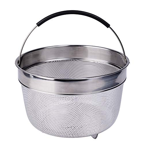 Steamer Basket for 6 Qt Instant Pot Pressure Cooker with Raised Feet & Silicone Handle