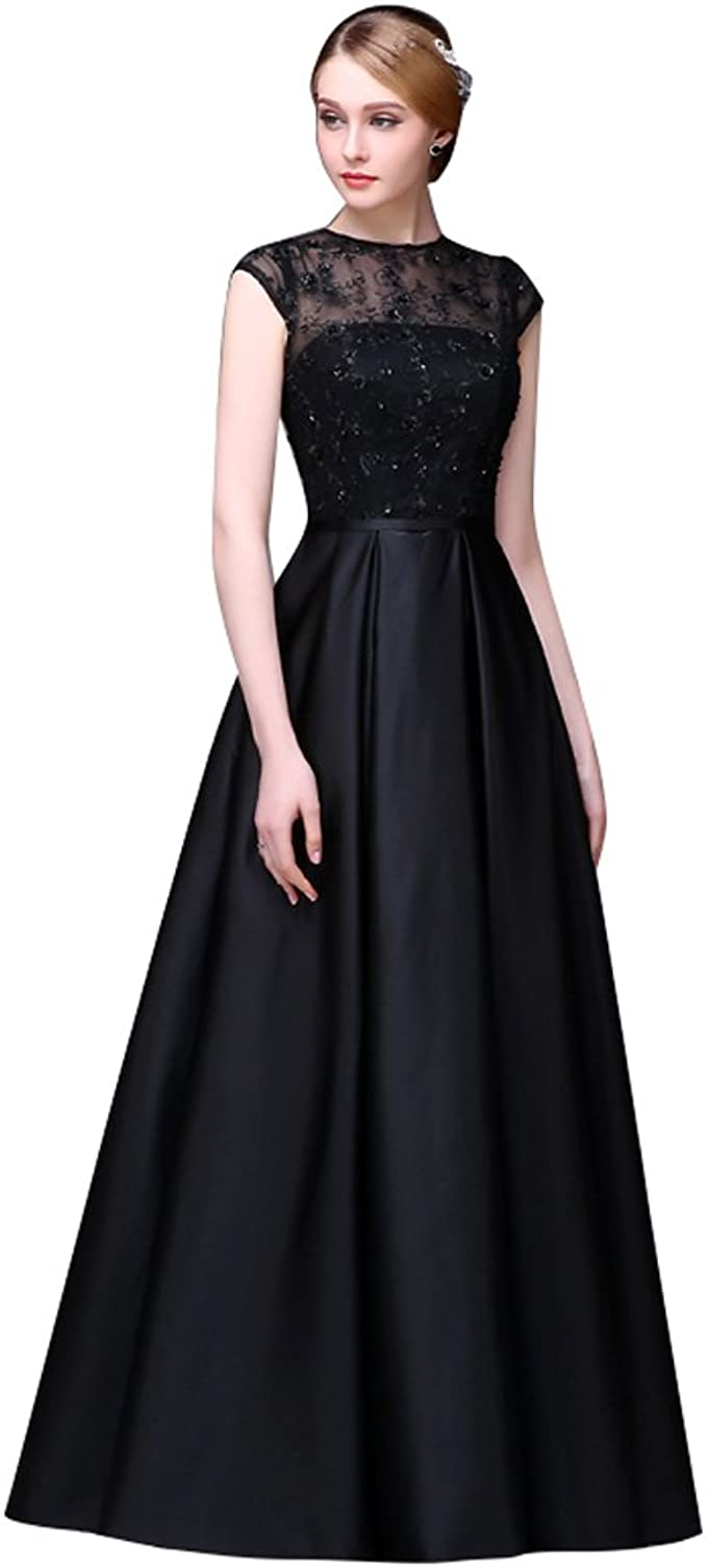 Beauty-Emily Womens Starpless Pleated Floral Prom Court Formal Evening Dresses