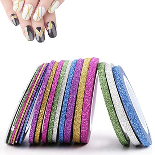 OBTANIM 18 Rolls Glitter Nail Art Striping Tape Lines, 6 Colors Matting Nail Art Supplies Striping Line Decoration Sticker DIY Nail Tip (1mm, 2mm, 3mm)