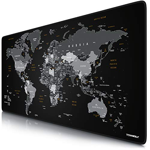 CSL - XXL Mauspad Gaming Titanwolf 900x400 mm - Mousepad XXL Gaming Groß - Tischunterlage Large Size - verbessert Präzision und Geschwindigkeit - Design Weltkarte Schwarz
