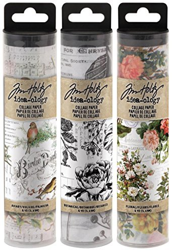 Tim Holtz Idea-ology Collage Paper Rolls - Bundle of Three Rolls (Best Paper For Decoupage)