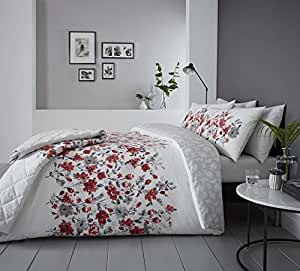 Floral Watercolour-Style RED Cotton Blend Canadian Twin (Comforter Cover 135 X 200 - UK Single) (Plain Silver Grey Fitted Sheet - 91 X 191CM + 25 - UK Single) 3 Piece Bedding Set