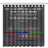 Wknoon 72 x 72 Inch Shower Curtain, Christian Bible Verse Scripture Quotes Proverbs Trust in The Lord with All Your Heart, Waterproof Polyester Fabric Decorative Bathroom Bath Curtains