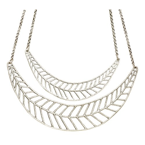 Chevron Leaf Double Collar Necklace (Antique Silver) by Mercedes Shaffer by Mercedes Shaffer