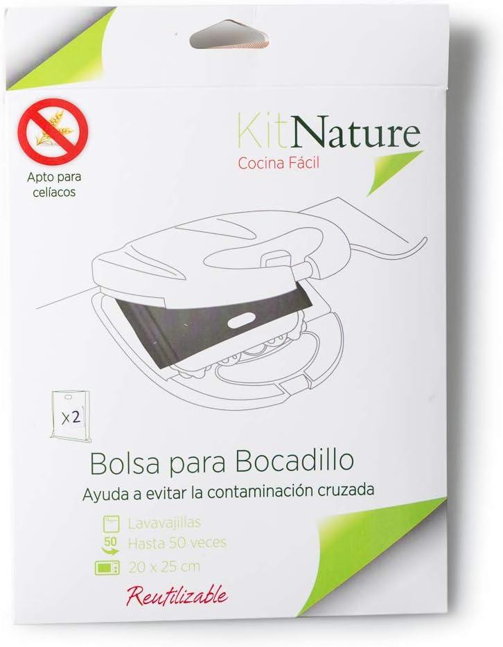 Kit Nature Bolsas para Bocadillo | Tamaño 20 x 25 cm | Pack de 2 Bolsas Reutilizables, Lavables, Antiadherentes