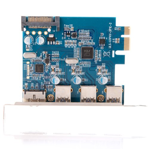 Kingzer USB 3.0 PCI-E PCI Express Card 4Port with 15-pin SATA Power Connector ESATA III from KINGZER