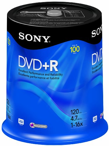 Sony DVD+R 4.7 GB Recordable Storage Spindle - 100 - Tub Spindle