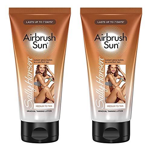 (Sally Hansen Airbrush Sun Gradual Tanning Lotion, Medium, 5.9 Ounce, 2 Count)