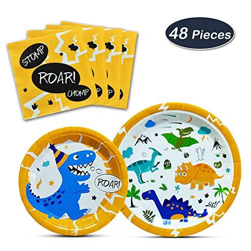 (WERNNSAI Dinosaur Party Supplies - Dinosaur Tableware Set for Boys Birthday Baby Shower Wedding Dinner Dessert Plates Napkins Serves 16 Guests 48)
