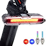 Bright Bike Tail Light,Zestrend USB Rechargeable Red and Blue Lights and 5 Modes Bicycle Safety Light LED Front and Rear Lights with Two Wheel Lights,Fits On Any Bikes,Scooter,Helmets