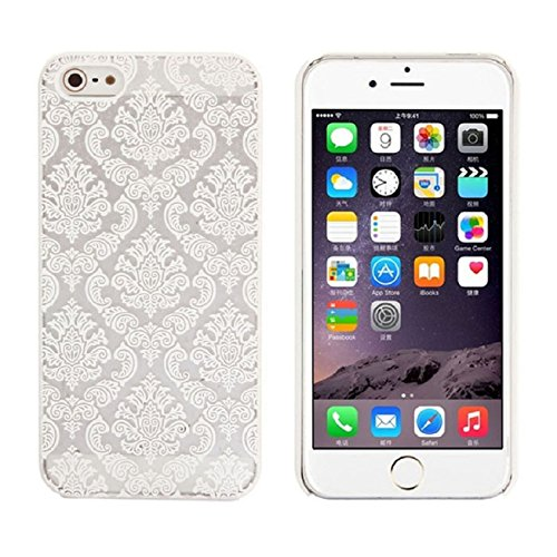 Iphone 5s Case, Shensee Vintage Carved Damask Pattern Matte Hard Plastic Clear Case Silicone Skin Cover for Iphone 5 5s - Case Shipping 635 Nokia Free