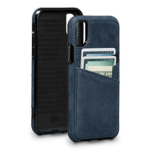 Sena Bence Lugano Wallet - Genuine Leather Drop Safe Protection Card Holder Case For Iphone X Xs - Denim