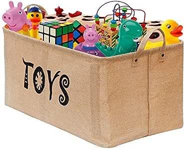Gimars Contenedor de canasta grande para juguetes Caja de almacenamiento plegable sin tapa Organizadores juguetes niños en yute(22 pulgadas): Amazon.es: Hogar