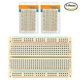 AKOAK 3 Pieces Solderless BreadBoard, 400 Tie-points, 4 Power rails, 3.3 x 2.1 x 0.3in (84 x 54 x 9mm) Clear Circuit PCB Board Kit for Arduino Proto Shield Circboard Prototyping Boards