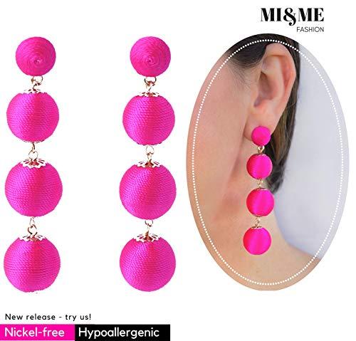 Thread Dangle Ball Earrings for Women and Girls, Nickel-Free Quadruple Balls Soriee Drop Earrings Beaded Ball Ear Drop Hot Pink