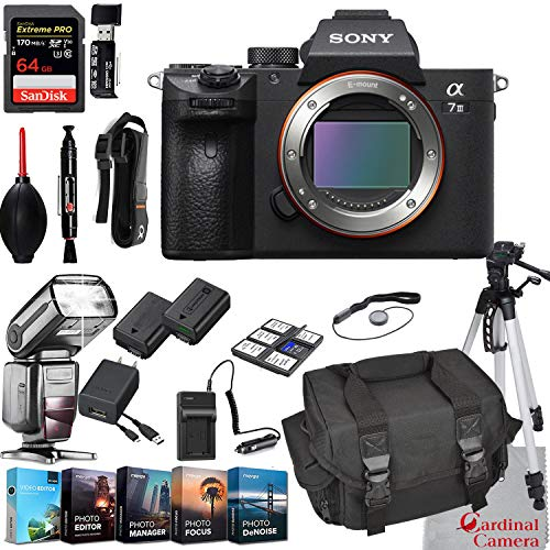 Sony Alpha a7 III Mirrorless Digital Camera Body Bundle + Extreme Speed 64GB Memory (24 Items)