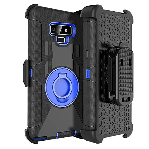 Fingic Samsung Note 9 Case,Samsung Note 9 Case with Clip,Full Body Heavy Duty Hybrid Holster Shockproof Kickstand Swivel Rugged Bumper Protective Case for Samsung Galaxy Note 9 6.4 2018,Blue