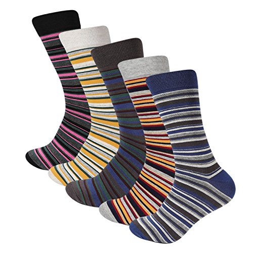 Mens Dress Casual Cotton Crew Striped Colorful Socks 5 Color Pack Hoyols (L Size) - Striped Dress Socks