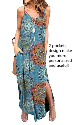 Sleeveless Strappy Cami Maxi Long Dress V Neck with Pockets Casual Summer Beach Skirt Cover Up Backless Side Slits Loose Solid Color for Women Mix Blue Print ()