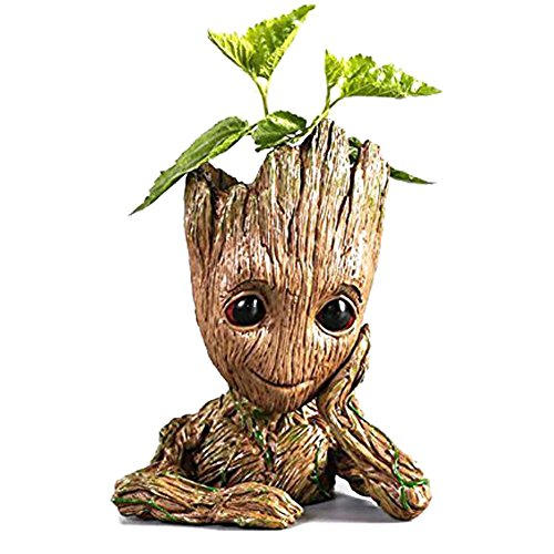 Groot Planter Pot Baby Flowerpot Cartoon Cute Model Pen Container Guardians Action Figures Toy Best Gift 5.3""