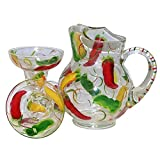 3-Piece Margarita Set. Glasses & Matching Pitcher in Chili Design. Hand Painted.