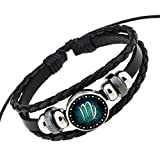 Rosemes Retro 12 Constellation Beaded Hand Woven Leather Bracelet PUNK Chain Cuff Virgo