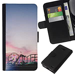 KingStore / Leather Etui en cuir / LG OPTIMUS L90 / Coney Island Sunset Park