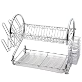 Glotoch Dish Drying Rack, 2 Tier Dish Rack with Utensil Holder, Cup Holder and Dish Drainer for Kitchen Counter Top, Plated Chrome Dish Dryer Silver 16.5 x 9.5 x 15 inch