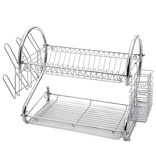 Glotoch Dish Drying Rack, 2 Tier Dish Rack with Utensil Holder, Cup Holder and...