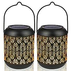 Garden and Outdoor LeiDrail Solar Lantern Outdoor Garden Hanging Lanterns Metal Decorative Light Warm White LED Waterproof Landscape… outdoor lighting