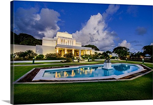 Gallery-Wrapped Canvas entitled Laie Hawaii Temple, Fountain, Laie, Hawaii by Scott Jarvie 48''x32'' by greatBIGcanvas