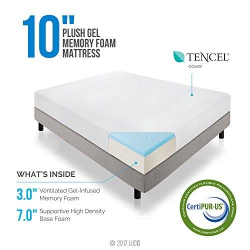 LUCID 10 Inch Gel Infused Memory Foam Mattress - Medium Plush Feel - CertiPUR-US Certified - 10 Year warranty - King