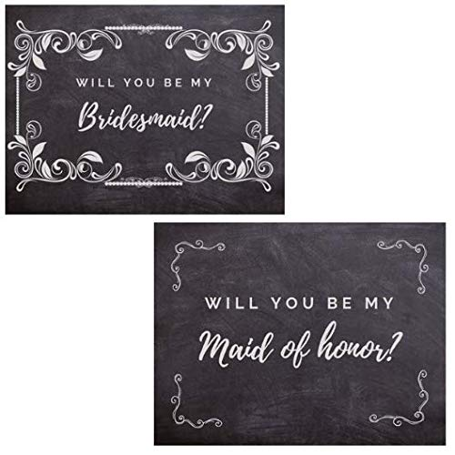 Bridesmaid Invitation Card - Will You be My Bridesmaid Proposal Card Invitation Set 1 Maid of Honor & 9 Bridesmaid Note Cards Chalk with envelopes Bridal Party Proposal Cards