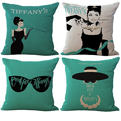 Rita Home Decor 4 Pack Tiffany's Breakfast Leading Lady Audrey Hepburn Throw Pillow Covers 18x18 Inch Cushion Cover Pillowcase with Zipper Cotton Linen Burlap Square Pillow Cover for Sofa Home Decor