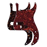 FLEOR Pack of 2pcs Tortoise Shell 4Ply PB P Bass Pickguard for Standard Precision Style Bass, 13 Hole of Red & Brown Tortoise