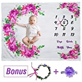 Floral Baby Monthly Milestone Blanket - 51